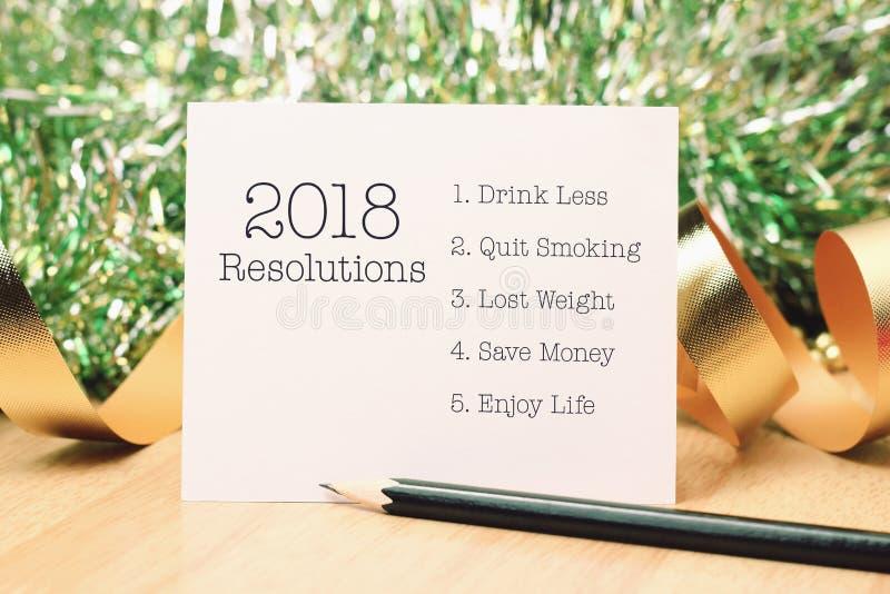 Resolutie 2018 met gouden decoratie stock foto's