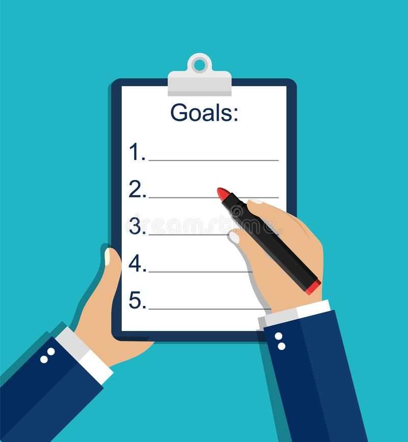 Resolution list, goal checklist, plan for new year 2020. Hand writes resolution on sheet, notebook. Personal growth concept. stock illustration