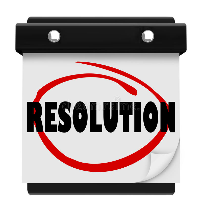 Resolution New Year Promise Vow Achieve Goal Resolved Mission Ca royalty free illustration