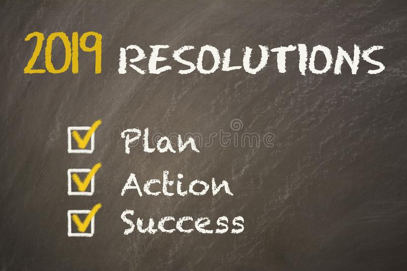 Resolutions on Chalkboard royalty free stock images