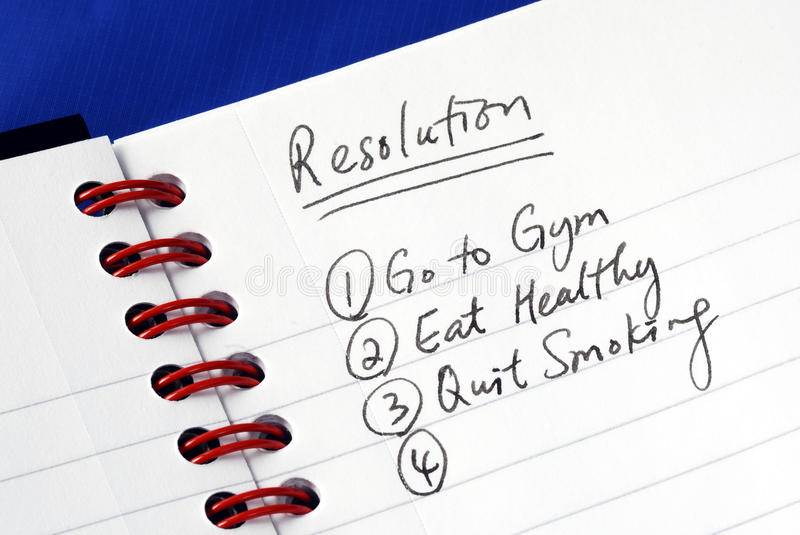 Resolutions for the New Year stock image