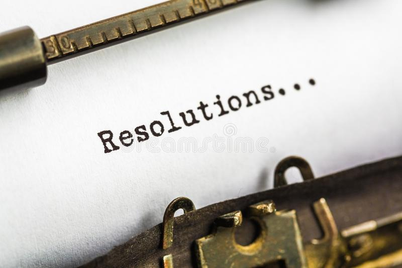 Resolutions on typewriter stock photos