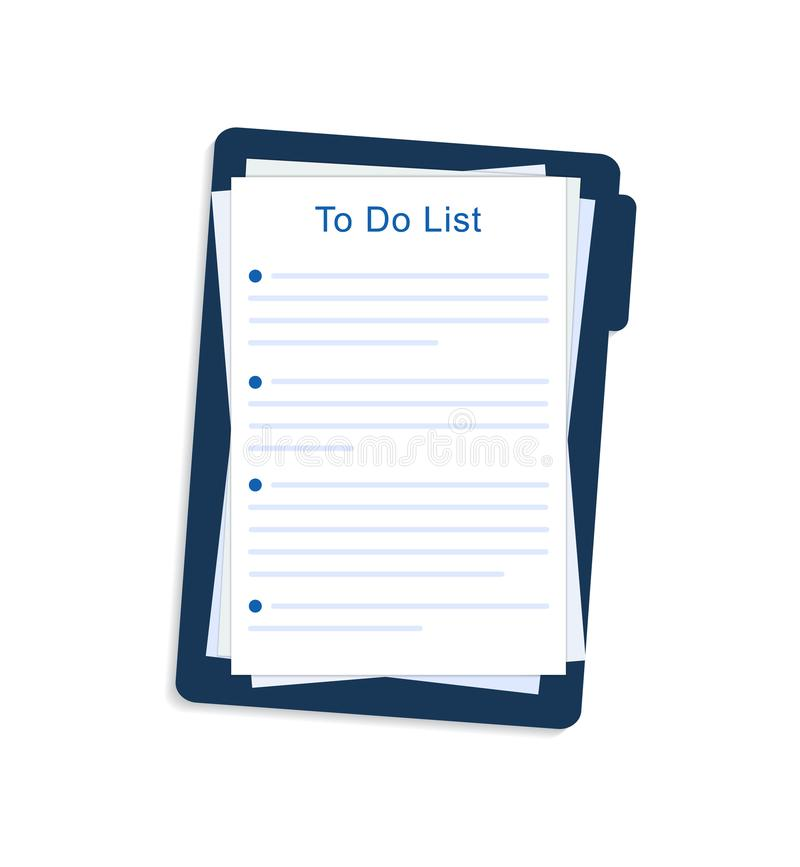 Resolutionsförteckning, mål, plan för nytt år 2020 Tom mall för upplösning på blad, anteckningsbok i mapp Begreppet personlig til vektor illustrationer