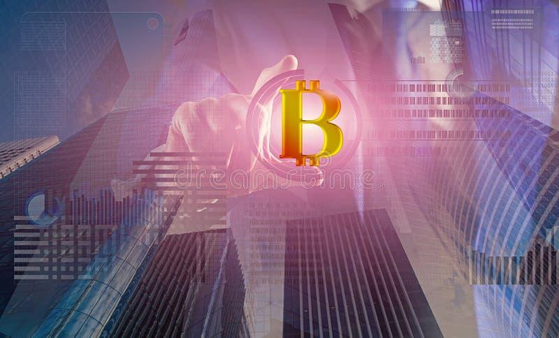 Resolva o bloco ganham o lucro Tecnologia de Blockchain minera??o Bitcoin Bitcoin digital futuro do dinheiro Virtual interativo d foto de stock royalty free