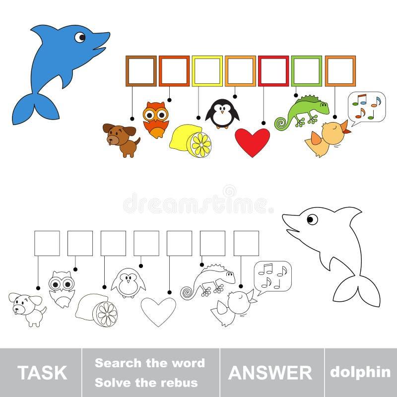 Resolva o jogo das palavras Golfinho escondido achado da palavra ilustração royalty free