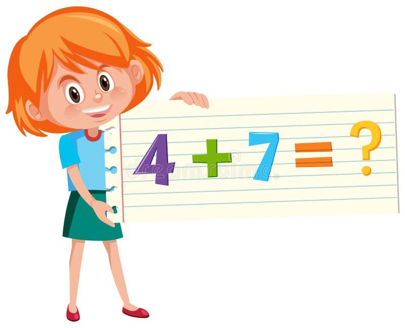 Resolva a pergunta da adição da matemática ilustração royalty free