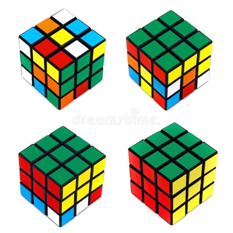 Resolvendo o cubo de Rubik fotos de stock