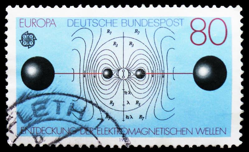 Resonerende Kring en Elektrische LUF Lijnen, Europa (C e P T ) 1983 - Grote Verwezenlijkingen van Menselijke Mening serie, circa  stock foto's