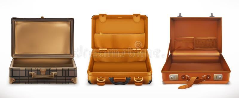 Resor öppna resväskan symboler för pappfärgsymbol ställde in vektorn för etiketter tre royaltyfri illustrationer