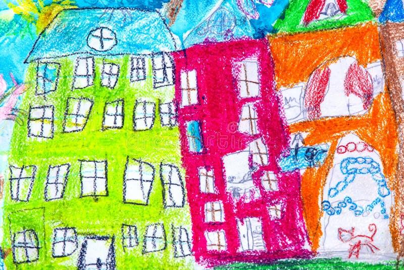 Resor för grupper av barnteckningar av staden Kharkiv royaltyfri fotografi