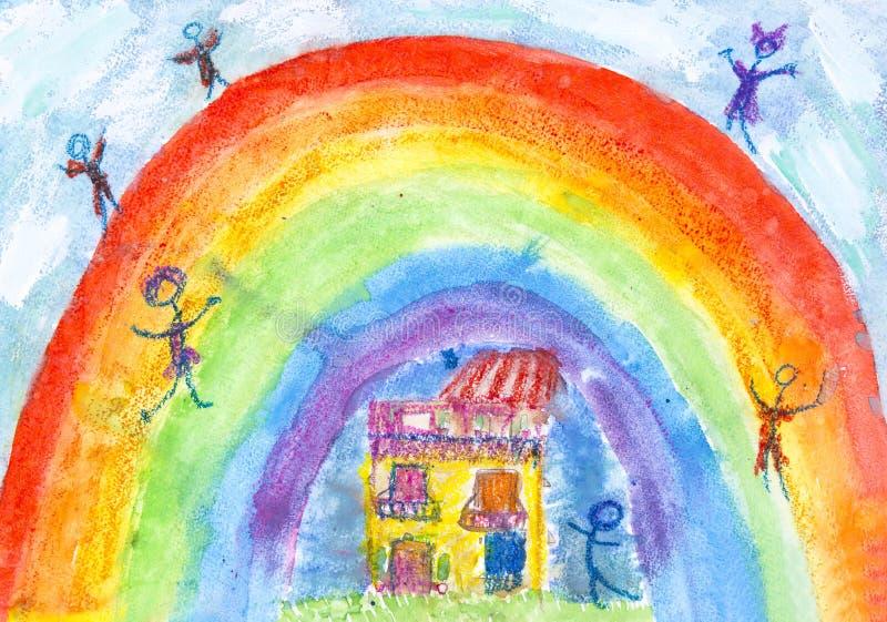 Resor för grupper av barnteckningar av staden Kharkiv royaltyfri bild