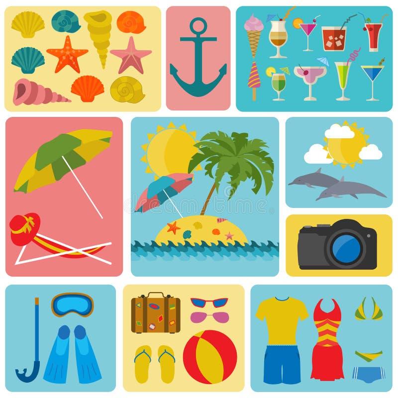 Resor semestrar Symboler för uppsättning för strandsemesterort Beståndsdelar för att skapa stock illustrationer