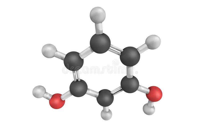 Resorcinol, isomeer 1.3 van benzenediol 3d model royalty-vrije stock fotografie