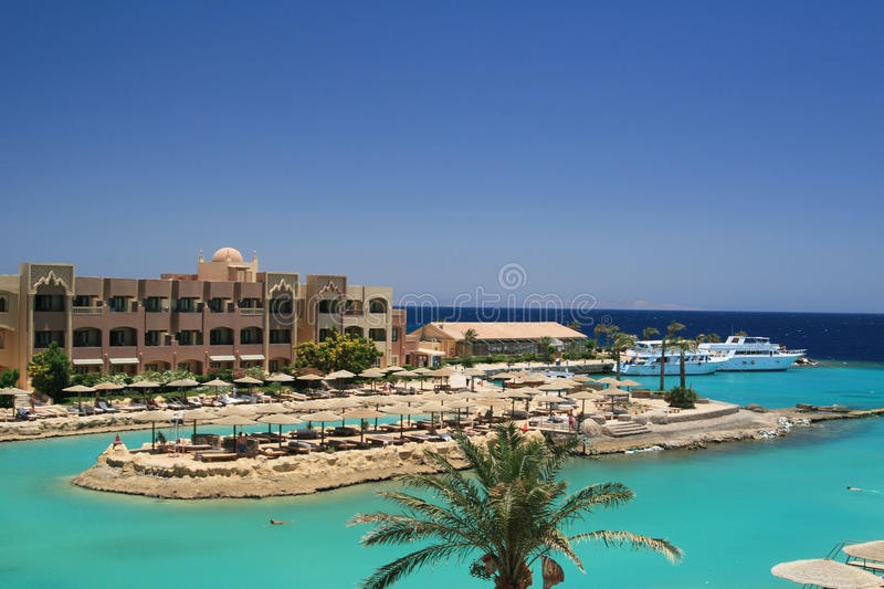 Resort beach in Egypt royalty free stock photography