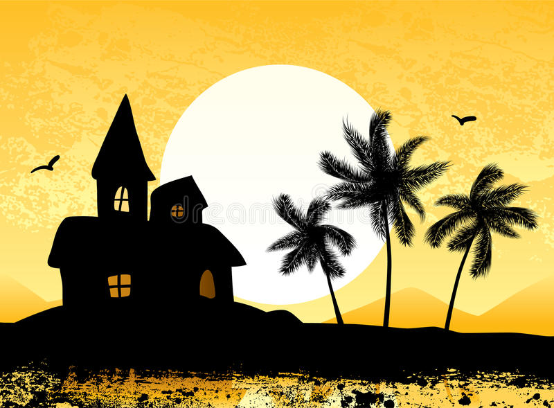 Download Resort With Castle And Palm Trees Stock Vector - Image: 15694043