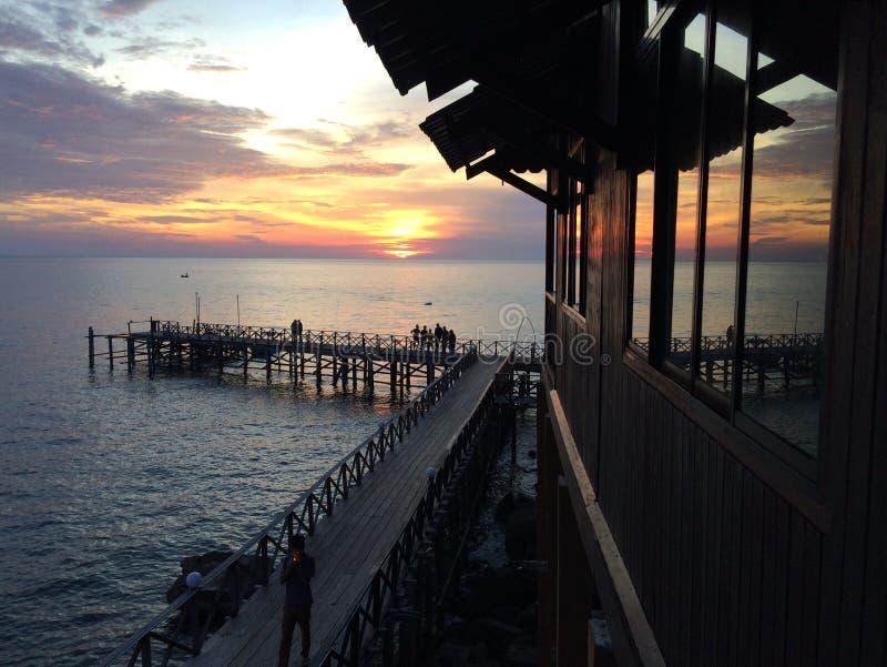 Resort da ilha de Tioman do por do sol fotografia de stock