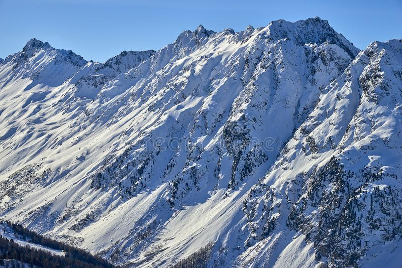 Resort de montanha do esqui de Ischgl/Samnaun, Áustria no tempo de inverno fotografia de stock royalty free