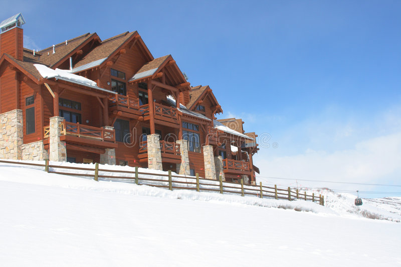 Resort Homes. Nice homes for people to live and vacation and ski stock photos
