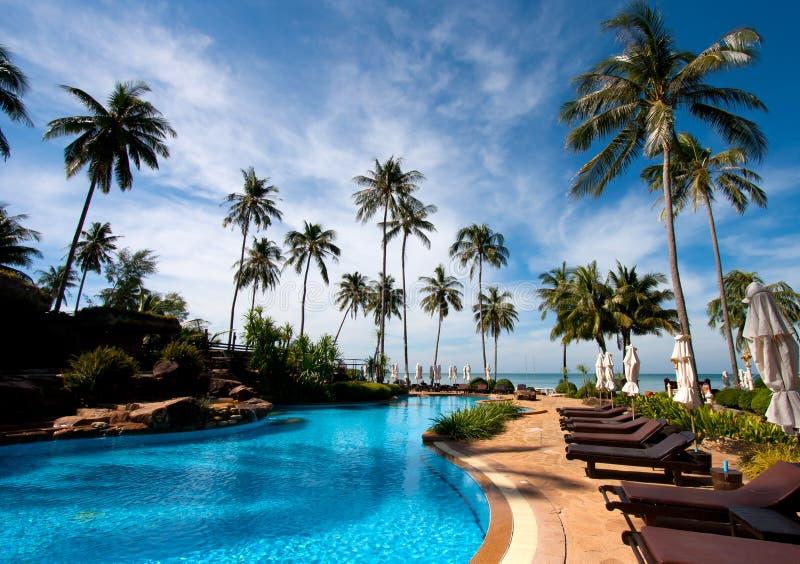 Resort hotel pool stock photo