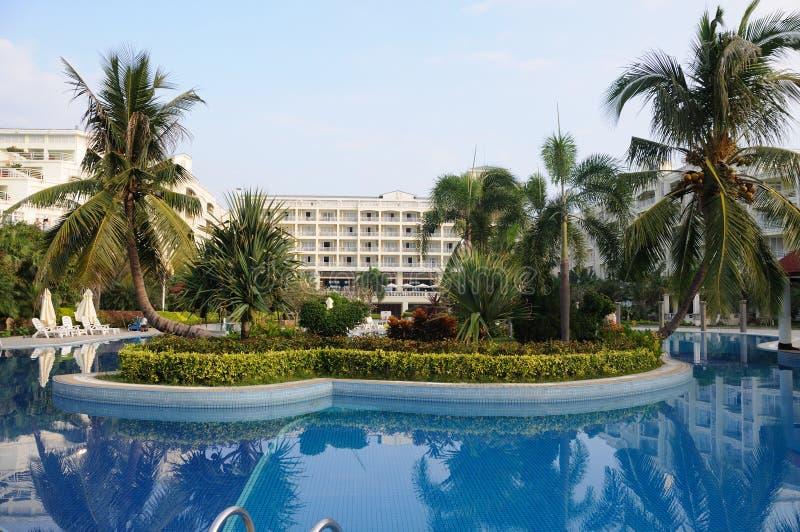 Resort hotel in sanya. Bay,Hainan Island, China stock photography