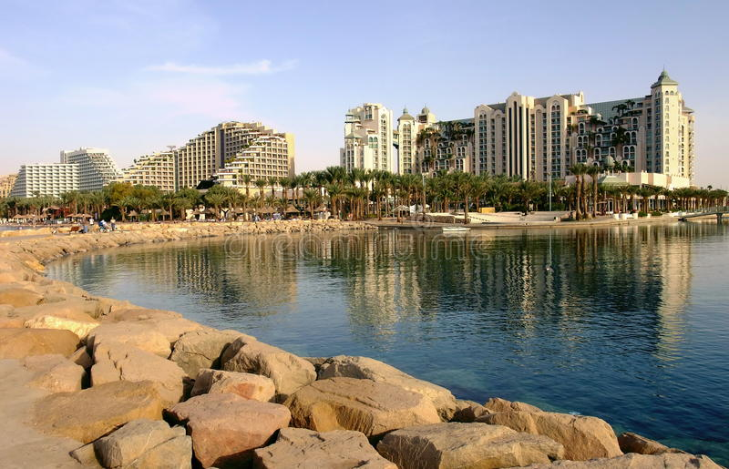 Resort hotels in Eilat. Eilat is one of the famous resorts in Middle East royalty free stock photography