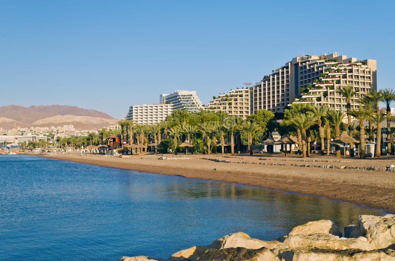 Resort hotels in Eilat, Israel. Eilat is a famous resort and recreation city in Israel. It is located on the Red Sea royalty free stock photo