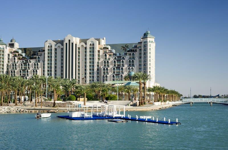 Resort hotels in Eilat, Israel. Resort hotels and promenade of Eilat - popular resort city of Israel stock photos