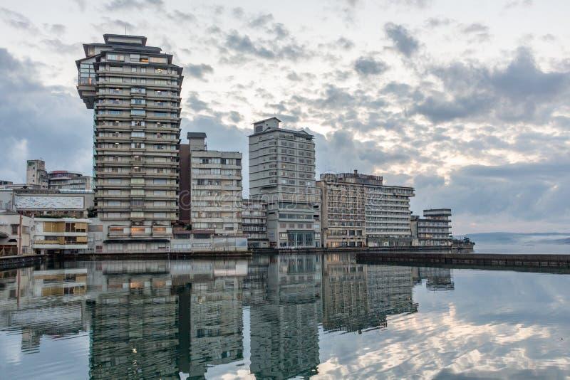 Resort hotels at Wakura Onsen, Japan royalty free stock photo
