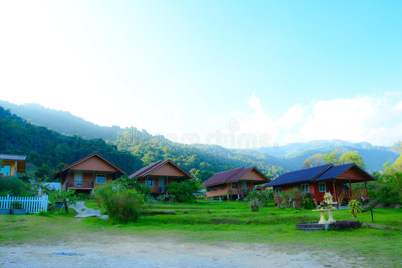 Resort by the mountains royalty free stock images