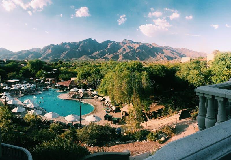 Resort Near Brown Mountain Range royalty free stock photo
