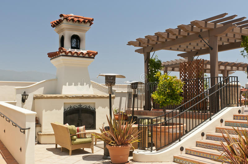 Download Resort patio fireplace stock image. Image of chimney - 20118599