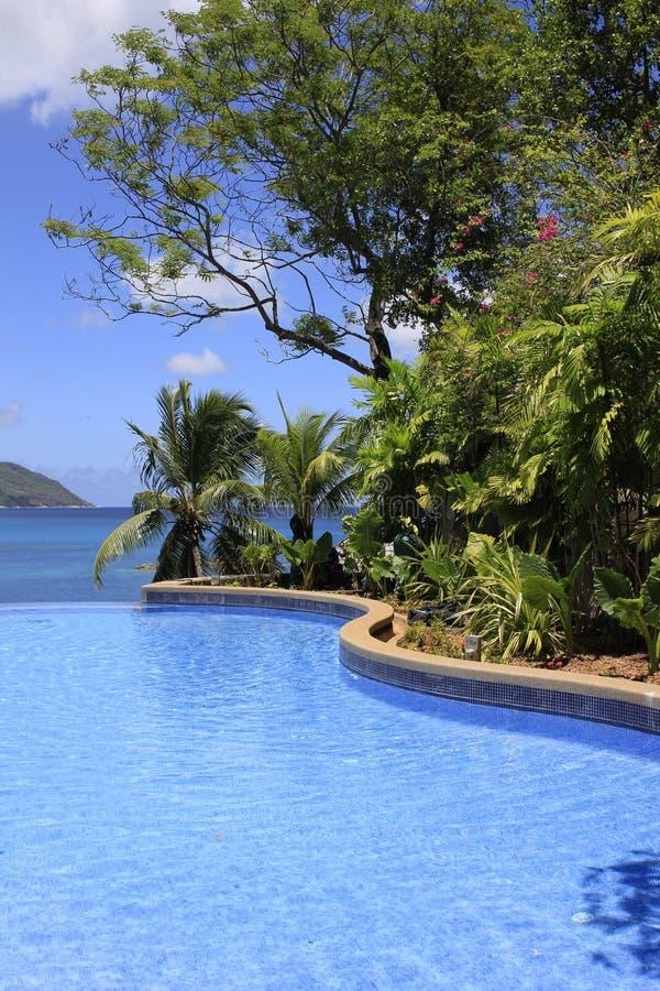 Resort Pool, Ilha Mahe, Seicheles fotografia de stock