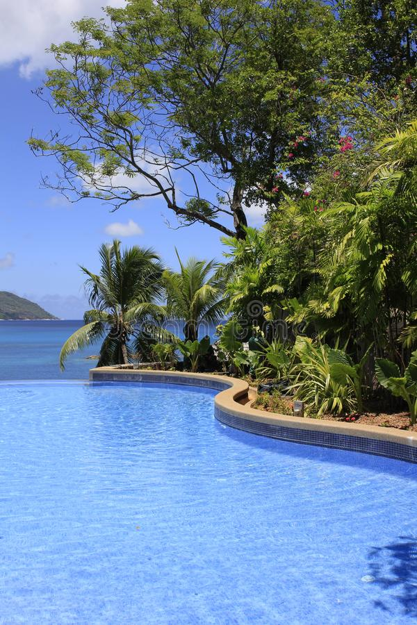 Resort Pool, Mahe Island, Seychellen stockfotografie
