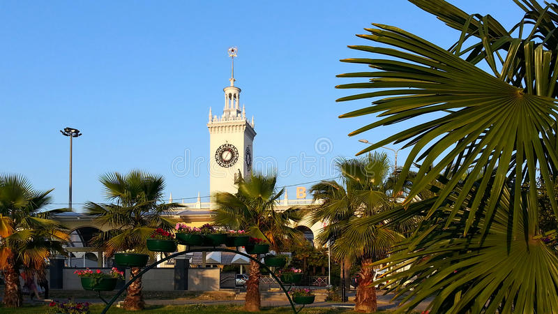 Resort Sochi, the clock tower of railway station and park with palms royalty free stock image