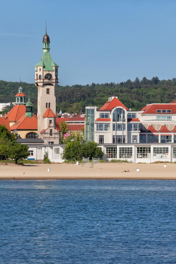 Resort Town of Sopot in Poland. Resort town of Sopot at the Baltic Sea in Poland, beach and town skyline with lighthouse stock images