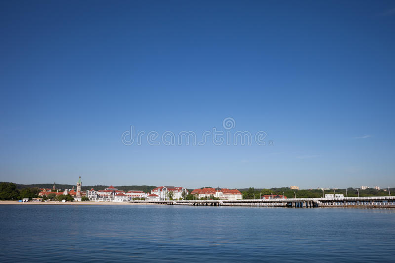 Resort Town of Sopot in Poland. Resort town of Sopot skyline in Poland, Baltic Sea coast, popular vacation destination stock photography