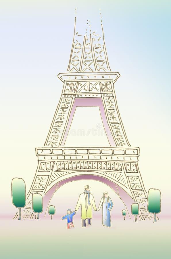 Resorte en París Familia feliz de tres libre illustration