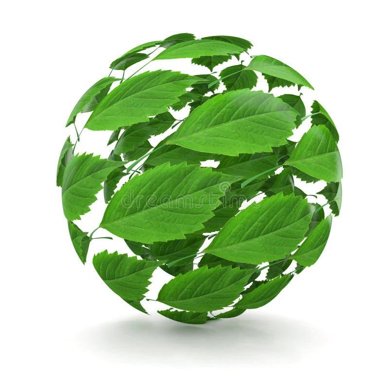 Resorte. Esfera de la hoja verde. 3d libre illustration