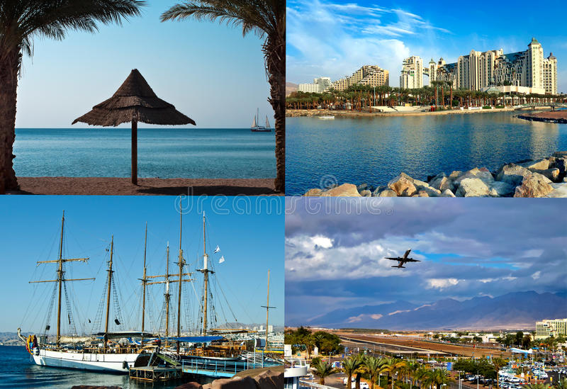 Resorts and attractions in Eilat city, Israel. This shots were taken in different spots of Eilat - the perfect resort destination with modern hotels and royalty free stock image