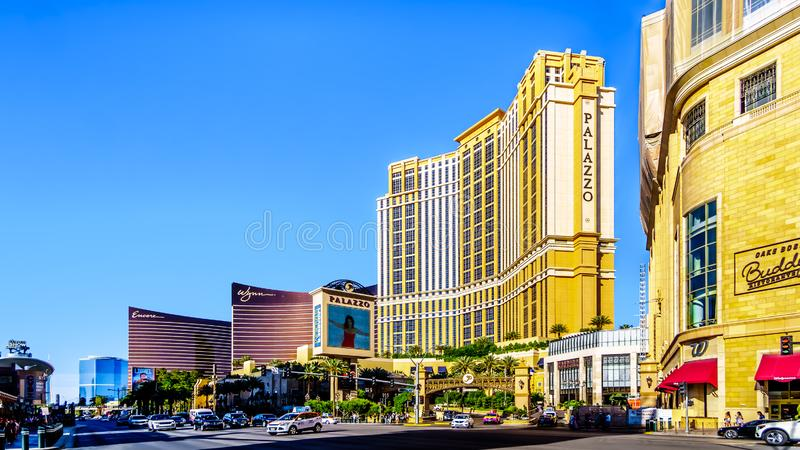 Resorts en Casinos langs de drukke Las Vegas Boulevard, ook wel 'The Strip' genoemd, in Las Vegas, Nevada royalty-vrije stock afbeelding