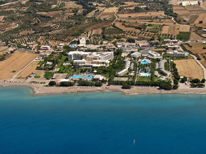 Download Resorts in Rhodes, aerial stock image. Image of hotels - 7862813