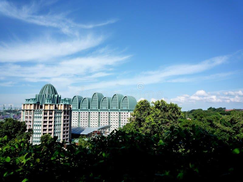 Resorts World Sentosa with beautiful sky stock images