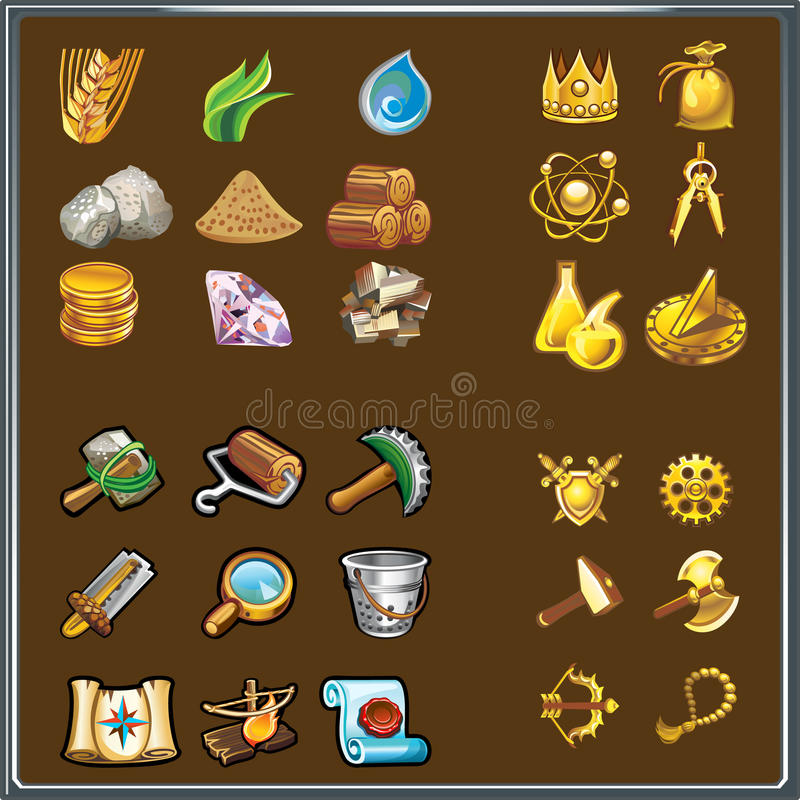 Resources for game. Various elements of the interface of games royalty free illustration