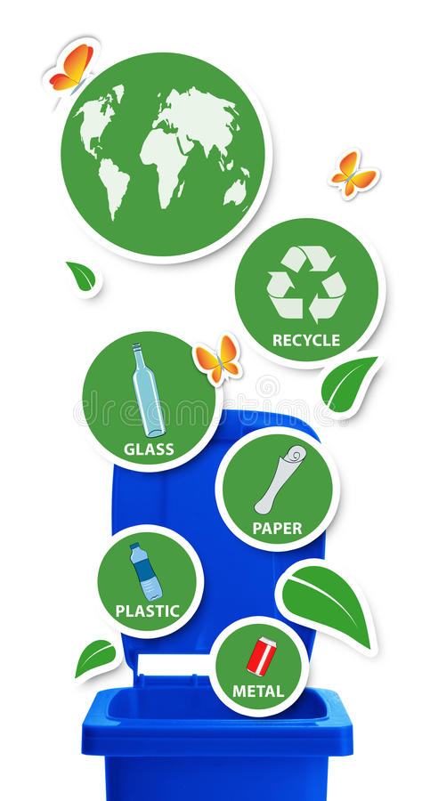 Resources not trash. /Environmental concept, blue recycle bin with round stickers and recyclable materials, isolated on white royalty free illustration
