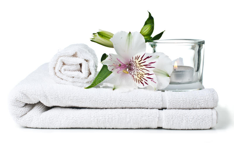 Download Resources For Spa, White Towel, Candle And Flower Stock Image - Image: 27045983