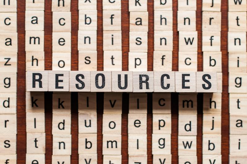 Resources word concept stock photo