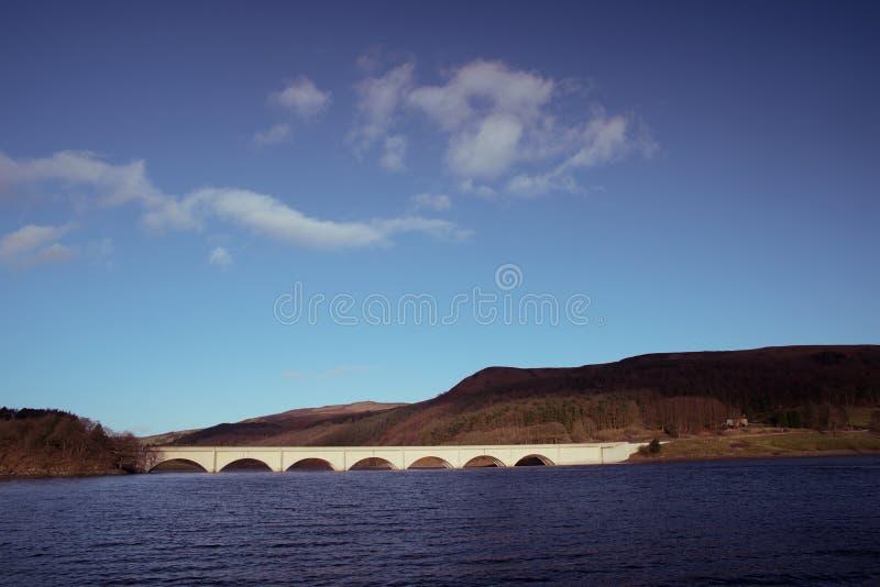 Resovoir di Ladybower nel Regno Unito con il sole recente di inverno immagini stock libere da diritti