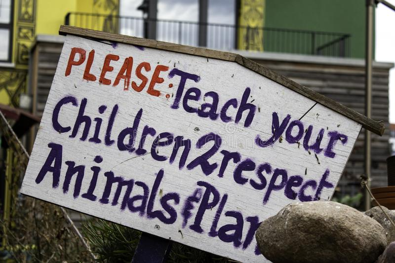 Respect animals and plants. Education for children, warning, conservation, travel, regulations, fauna, protection, character, world, advertisement, national royalty free stock image