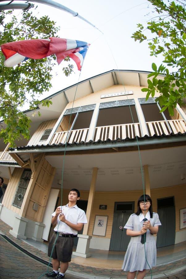 Respect the flag of Thai identity. royalty free stock photo