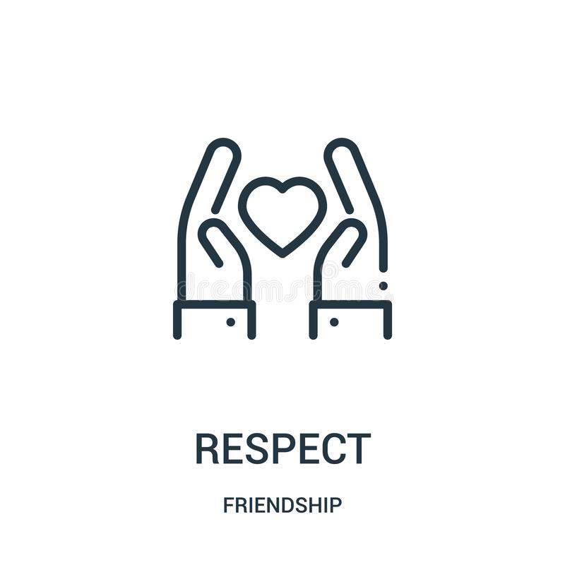 respect icon vector from friendship collection. Thin line respect outline icon vector illustration. Linear symbol for use on web vector illustration